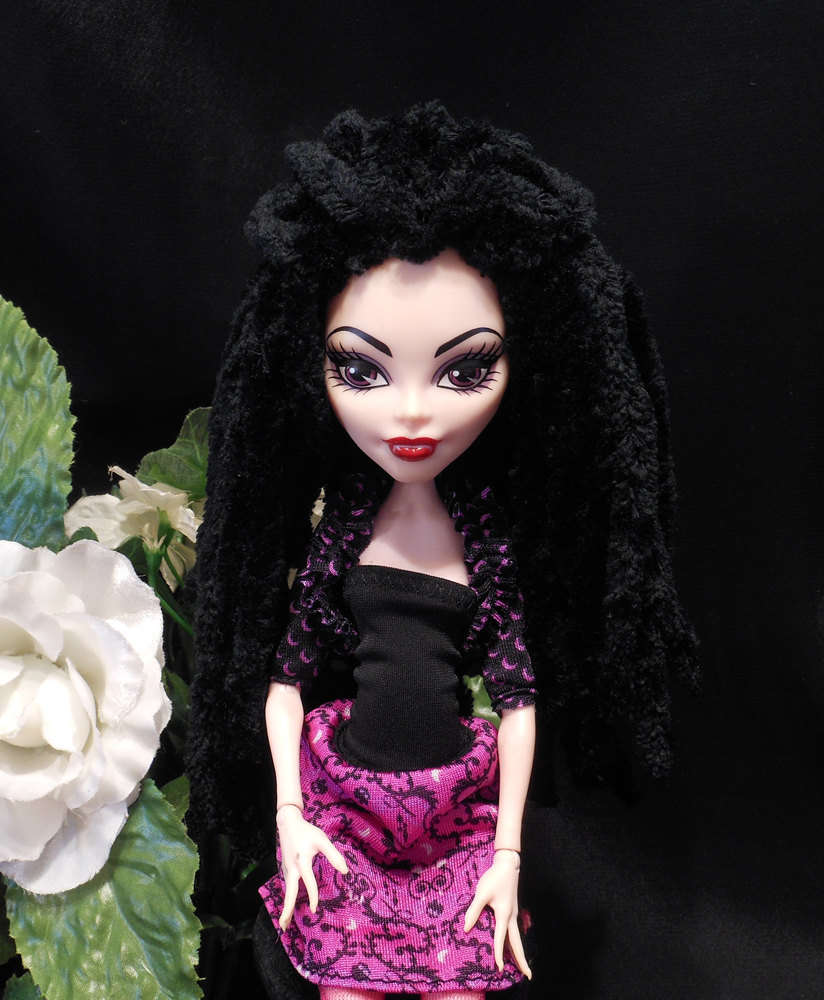 Doll Wig Black Plush Rasta Dread Style Yarn Crocheted Monster Fashion Doll Wig