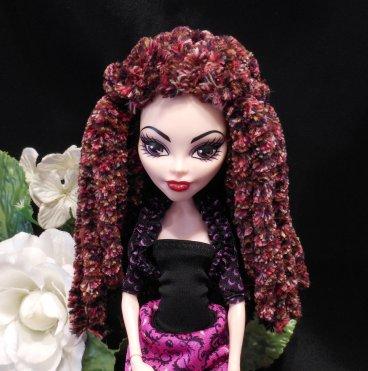Doll Wig Red Brown Variegated Plush Rasta Dread Style Yarn Crocheted Monster Fashion Doll Wig