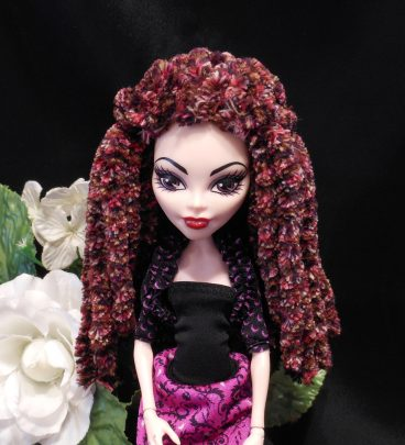 Doll Wig Red Brown Variegated Plush Rasta Dread Style Yarn Crocheted Monster Fashion Doll Wig