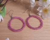 Double Woven Pink Hoop Earrings Shepherd Hook