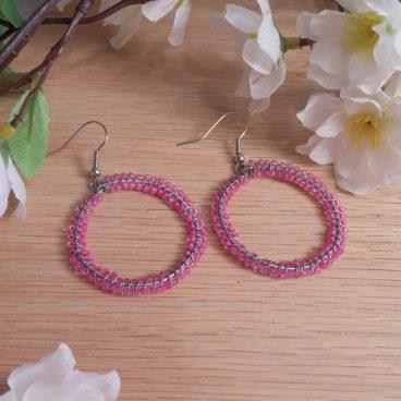 Double Woven Pink Hoop Earrings Shepherd Hook