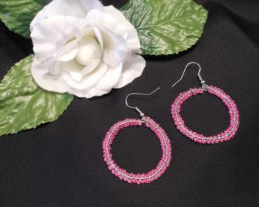 Double Woven Pink Hoop Earrings Shepherd Hook Style
