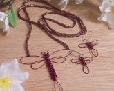 Dragonfly Jewelry Necklace Earrings Set Wire Macrame Dragonfly necklace