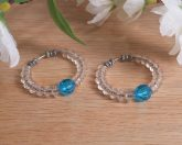 Earrings Beaded Hoop Aqua Blue Clear Beads Tension Loop