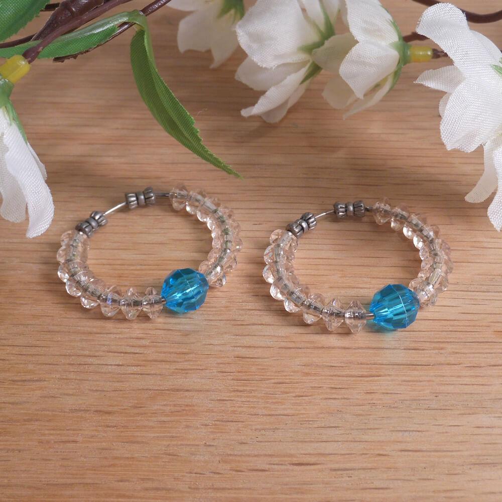 Earrings Beaded Hoop Aqua Blue Clear Beads Tension Loop