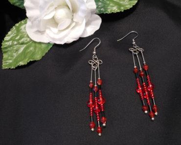Earrings Black and Red Beads Steel Wire Wrap Dangle Beaded Jewelry Shepherd Hook Earwire