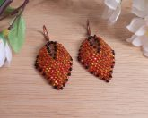 Earrings Black Orange Fire Glass Russian Leaf Beaded Copper Leverback Hook Earwire