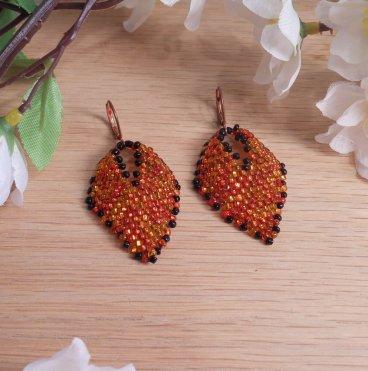 Earrings Black Orange Fire Glass Russian Leaf Beaded Copper Leverback Hook Earwire