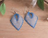 Earrings Blue White Frosted Ice Glass Russian Leaf Beaded Steel Shepherd Hook Earwire