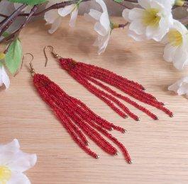 Earrings Bright Red Glass Bead Bugle Dangle Beaded Jewelry Shepherd Hook Earwire