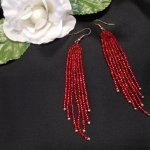 Earrings Bright Red Glass Beads Bugle Dangle Beaded Jewelry Shepherd Hook Earwire