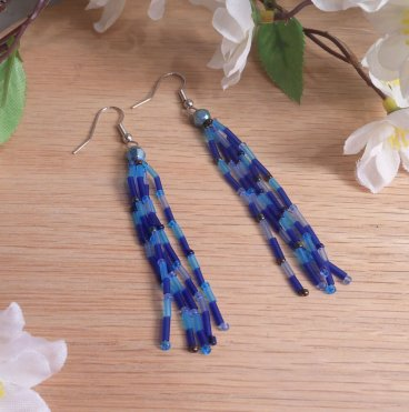 Earrings Cobalt Blue Bead Frosted Bugle Dangle Beaded Jewelry Shepherd Hook Earwire