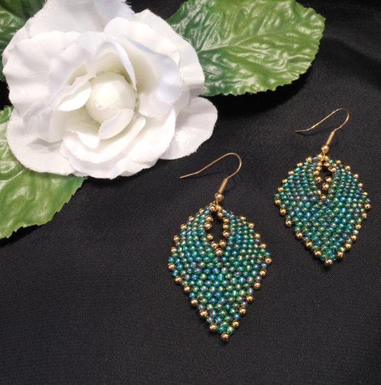 Earrings Green and Gold Iridescent Glass Russian Leaf Beaded Gold Shepherd Hook Earwire