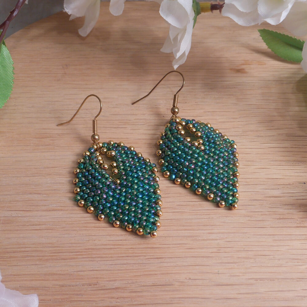 Earrings Green Gold Iridescent Glass Russian Leaf Beaded Gold Shepherd Hook Earwire