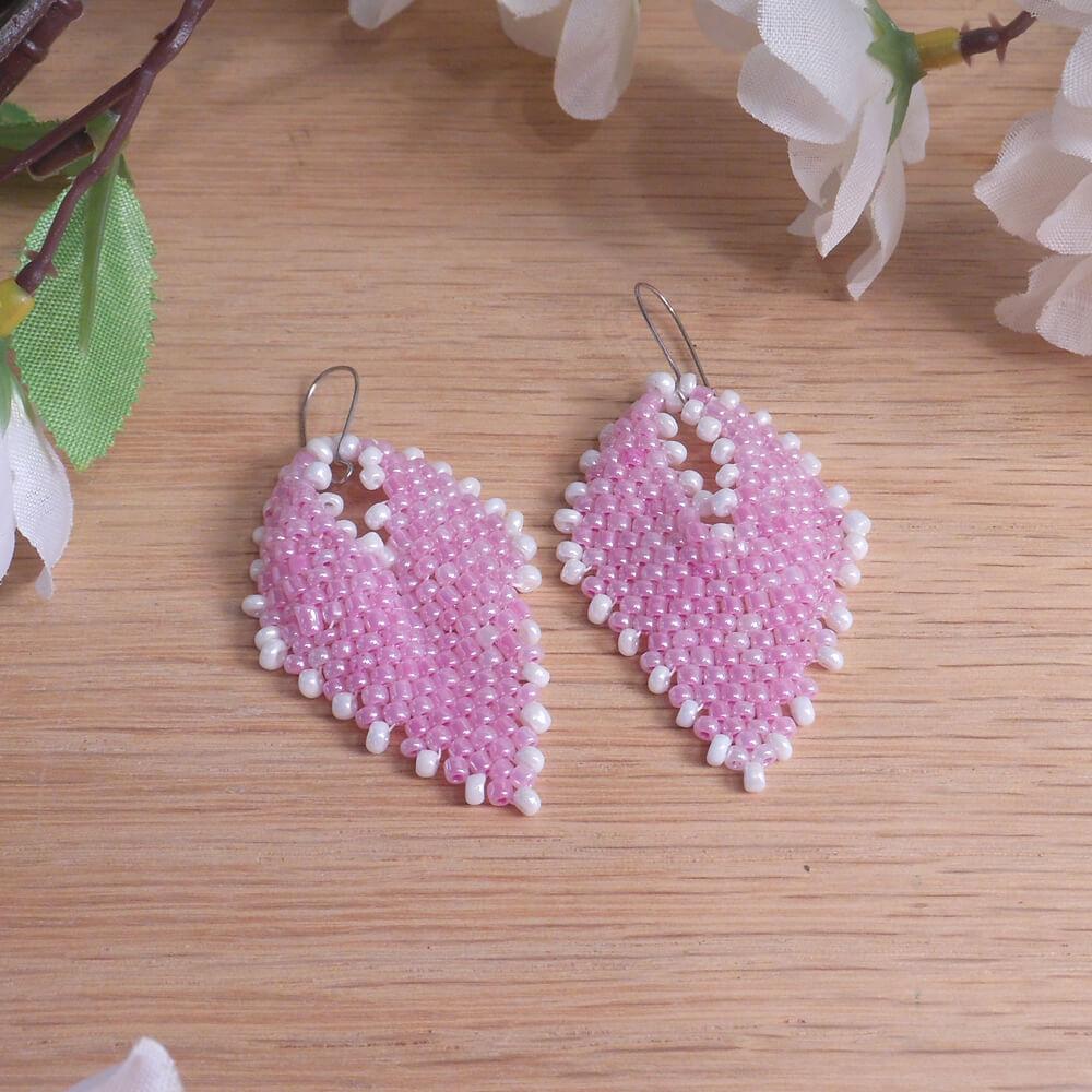 Earrings Pink White Pearlescent Glass Russian Leaf Beaded Kidney Hook Earwire