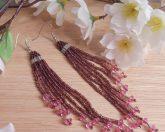 Earrings Purple Lavender Glass Bead Bugle Dangle Beaded Jewelry Shepherd Hook Earwire