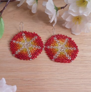 Earrings Sunburst Red Orange Glass Peyote Beaded Steel Kidney Hook Earwire