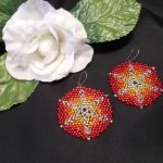 Earrings Sunburst Red Orange Glass Peyote Beaded Steel Kidney Wire Hook Earwire