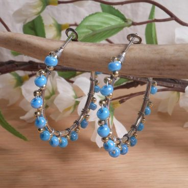 Earrings Wire Wrap Beaded Hoop Baby Blue Glass Gold Plated Beads Leverback Loop hanging