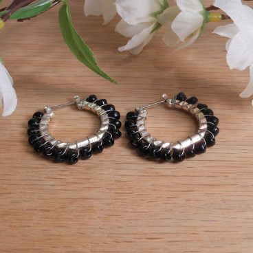 Earrings Wire Wrap Beaded Hoop Black Bead Hinge Latch Loop
