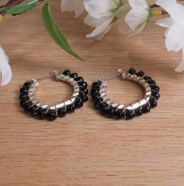 Earrings Wire Wrap Beaded Hoop Black Bead Hinge Latch Loop