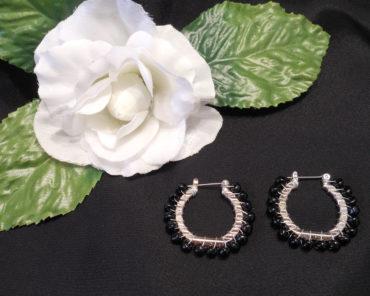 Earrings Wire Wrap Beaded Hoop Black Beads Hinge Latch Loop
