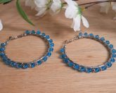 Earrings Wire Wrap Beaded Hoop Blue Swarovski and Silver Plated Bead Leverback Loop