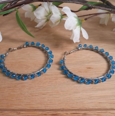 Earrings Wire Wrap Beaded Hoop Blue Swarovski and Silver Plated Bead Leverback Loop