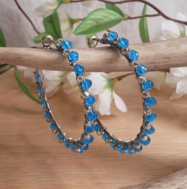 Earrings Wire Wrap Beaded Hoop Blue Swarovski and Silver Plated Bead Leverback Loop hanging