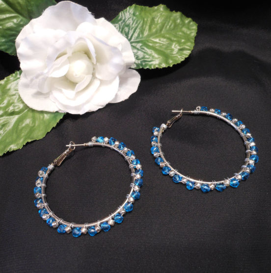 Earrings Wire Wrap Beaded Hoop Blue Swarovski and Silver Plated Beads Leverback Loop