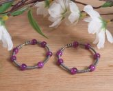 Earrings Wire Wrap Beaded Hoop Cracked Purple Bead Tension Loop