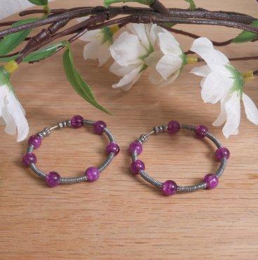 Earrings Wire Wrap Beaded Hoop Cracked Purple Bead Tension Loop