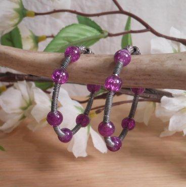 Earrings Wire Wrap Beaded Hoop Cracked Purple Bead Tension Loop hanging