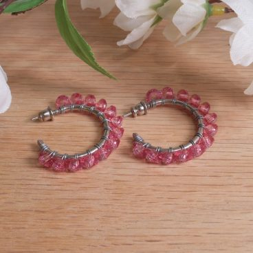 Earrings Wire Wrap Beaded Hoop Faceted Pink Bead Stud Pushback Loop