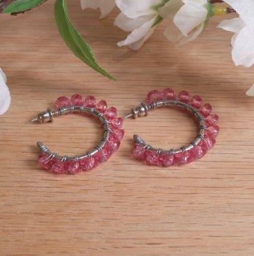Earrings Wire Wrap Beaded Hoop Faceted Pink Bead Stud Pushback Loop