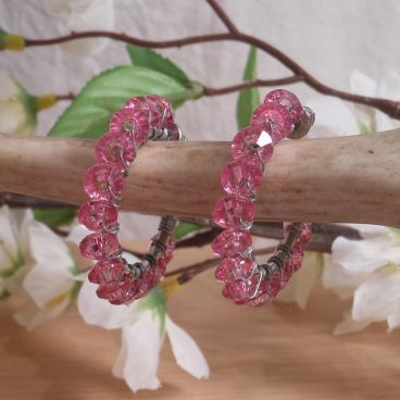 Earrings Wire Wrap Beaded Hoop Faceted Pink Bead Stud Pushback Loop hanging