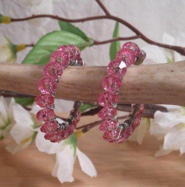 Earrings Wire Wrap Beaded Hoop Faceted Pink Bead Stud Pushback Loop hanging