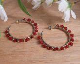 Earrings Wire Wrap Beaded Hoop Red Swarovski Gold Plated Beads Stud Pushback Loop
