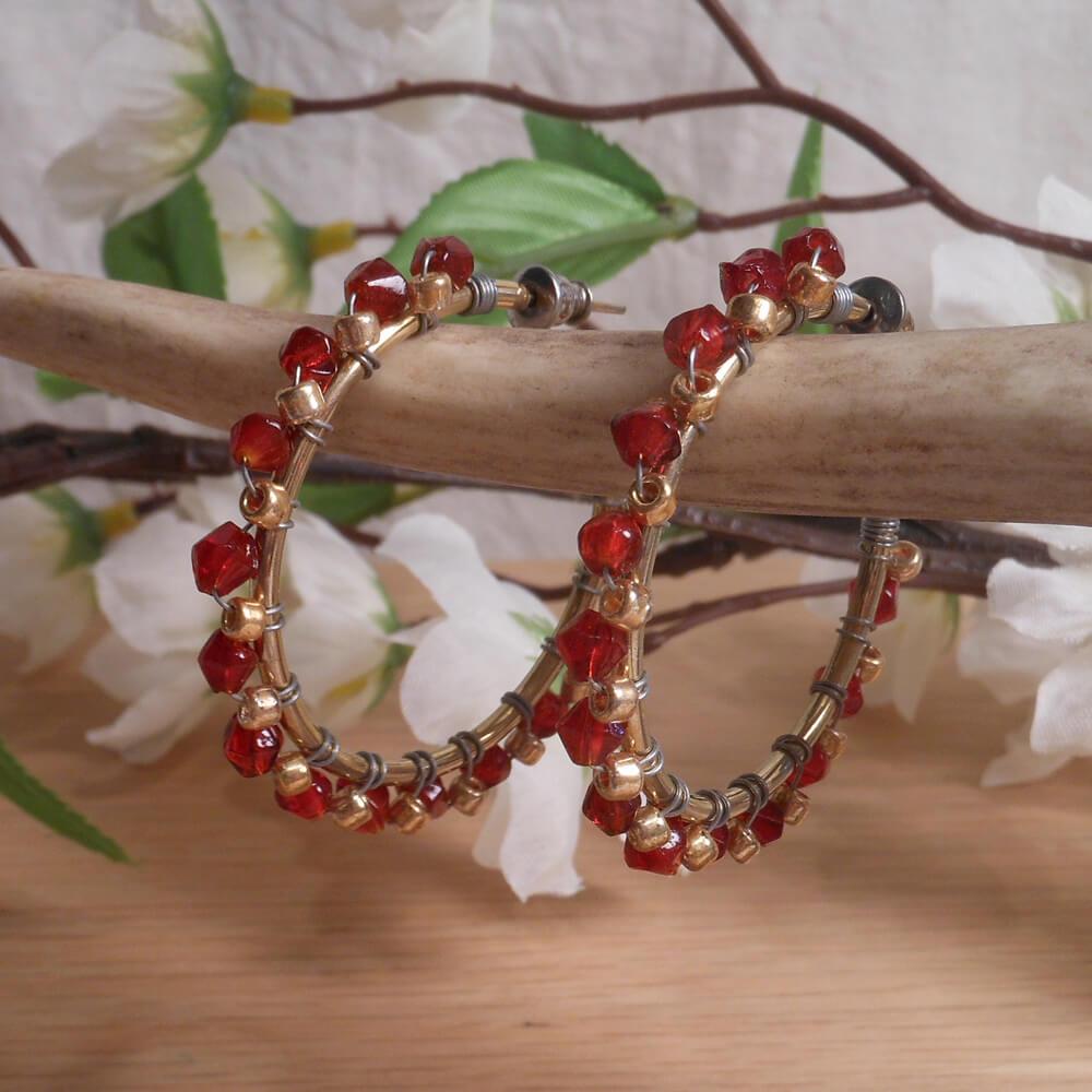 Earrings Wire Wrap Beaded Hoop Red Swarovski Gold Plated Beads Stud Pushback Loop hanging
