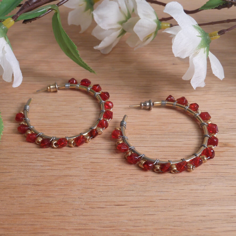 Earrings Wire Wrap Beaded Hoop Red Swarovski Gold Plated Beads Stud Pushback Loop