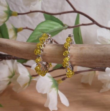 Earrings Wire Wrap Beaded Hoop Yellow Bead Hinge Latch Loop hanging