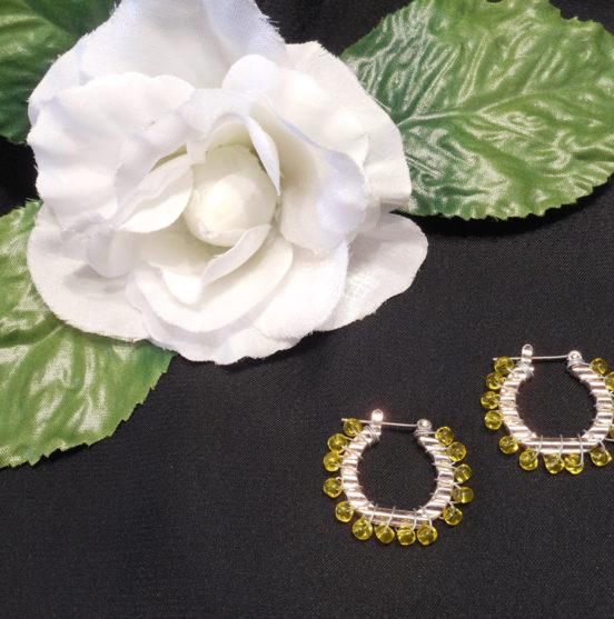 Earrings Wire Wrap Beaded Hoop Yellow Beads Hinge Latch Loop
