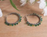 Earrings Wire Wrap Hoop Green Glass Bead Leverback Loop