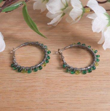Earrings Wire Wrap Hoop Green Glass Bead Leverback Loop