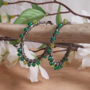 Earrings Wire Wrap Hoop Green Glass Bead Leverback Loop hanging