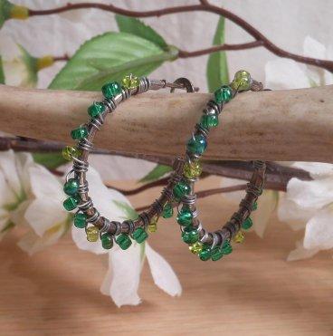 Earrings Wire Wrap Hoop Green Glass Bead Leverback Loop hanging