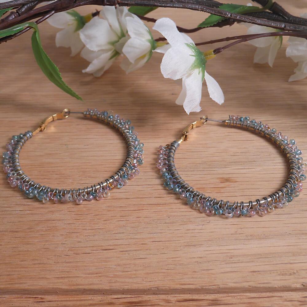 Earrings Wire Wrap Hoop Pastel Frosted Bead Leverback Loop