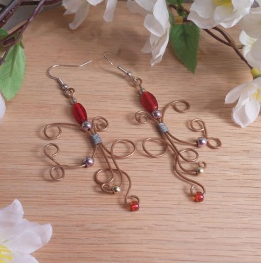 Elvalien Copper Wire Earrings Red and Metal Accents