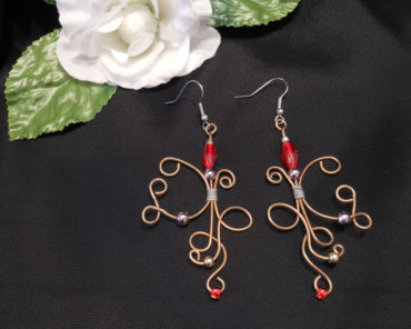 Elvalien Copper Wire Earrings with Red and Metal Accents
