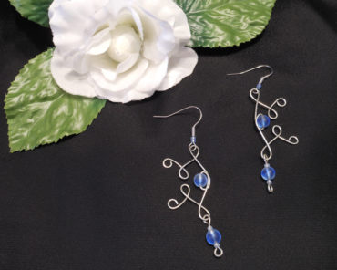 Elvalien Flourish Earrings with Frosted Glass Accents